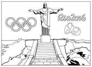 coloriage-rio-2016-jeux-olympiques-statue-christ-redempteur-rio-de-janero free to print