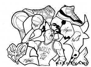coloriage-adulte-graffiti-michael-jordan-by-kixionary-world free to print