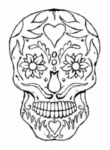 coloriage-adulte-tatoo-crane-yeux-fleuris free to print