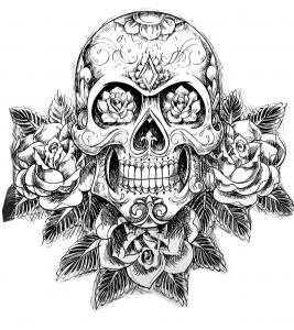 coloriage-tatouage-crane-squelette free to print