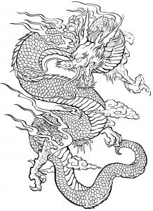 coloriage-tatouage-dragon free to print