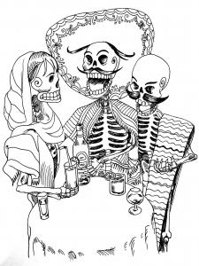 coloriage-tatouage-squelettes free to print