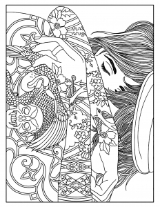 coloriages-femme-tatouages free to print