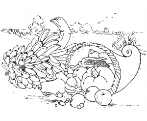 coloriage-adule-repas-thanksgiving free to print