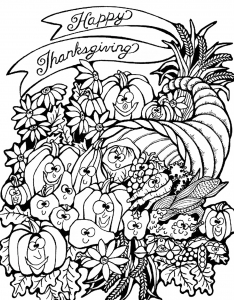 coloriage-adulte-thanksgiving-corne-d-abondance free to print