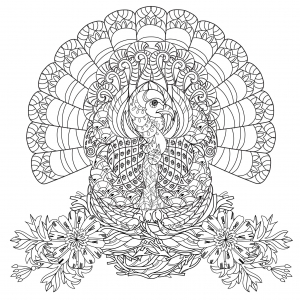 coloriage-thanksgiving-dinde free to print