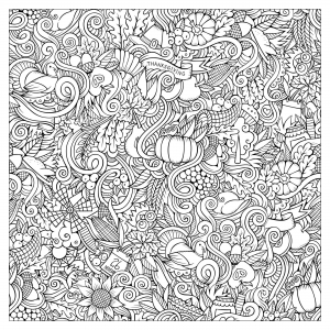 coloriage-thanksgiving-doodle-carre-par-Olga-Kostenko free to print
