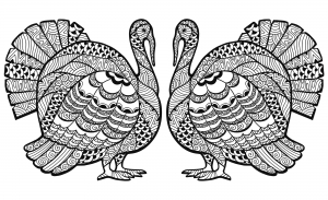 coloriage-thanksgiving-zentangle-dinde-en-double-par-Elena-Medvedeva free to print