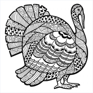 coloriage-thanksgiving-zentangle-dinde-par-Elena-Medvedeva free to print