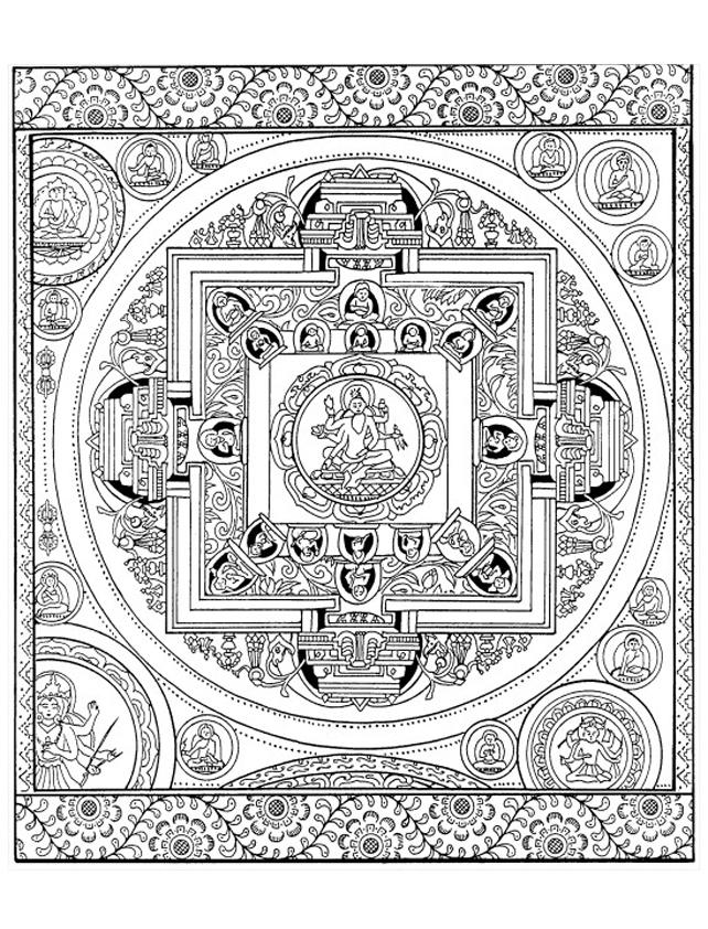 Le Mandala est traditionnellement circulaire, mais celui-ci, d'origine tibétaine, est basé également sur des formes carréesA partir de la galerie : Tibet