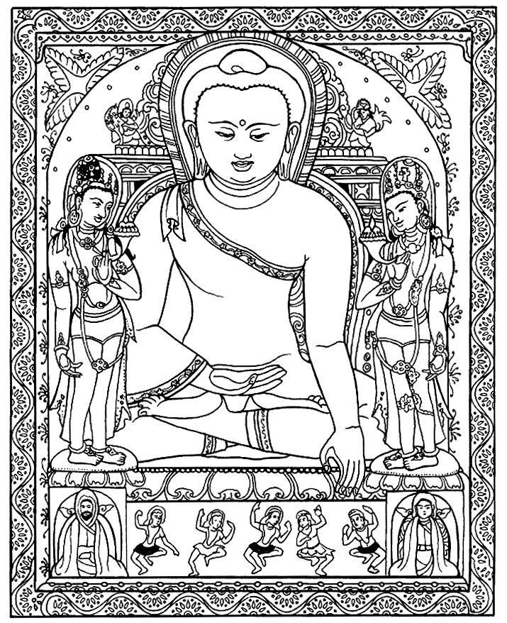 Dessin noir & blanc de Bouddha, avec énormément de magnifiques détailsA partir de la galerie : Tibet