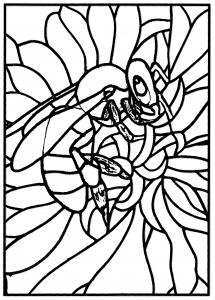 coloriage-adulte-vitrail-abeille-atelier-jb-tosi-2010 free to print
