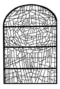 coloriage-adulte-vitrail-choeur-eglise-paroissale-saint-servant-sur-oust-france-version-3 free to print