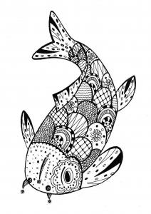 coloriage-adulte-fish-zentangle-rachel free to print