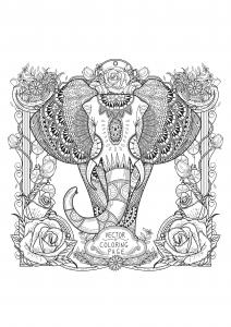 coloriage-adultes-zentangle-elephant free to print